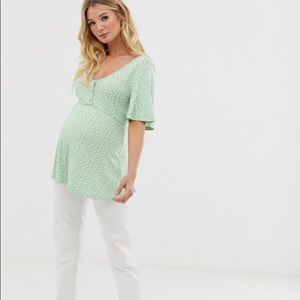 ASOS Maternity button front top in spot